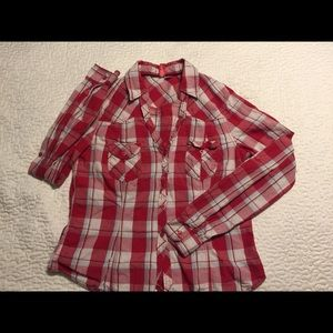 Divided red plaid shirt
